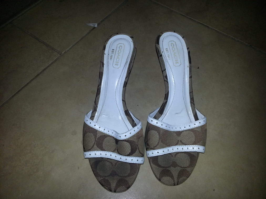 Brown and White Coach Sandals