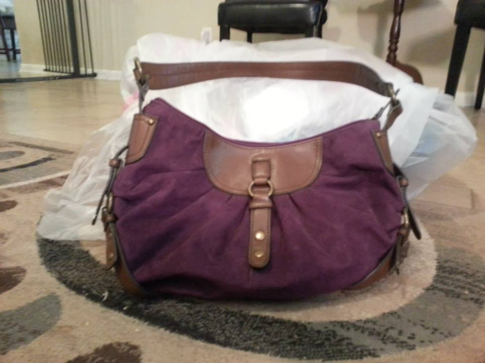 Purple and Brown Leather Nine West Purse