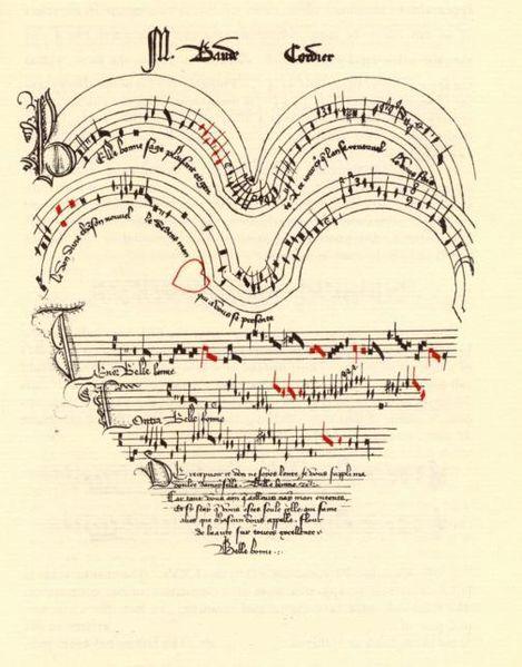 """Score of Baude Cordier's chanson """"Belle, bonne, sage,"""" from The Chantilly Manuscript, Musée Condé 564"""