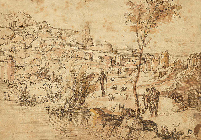 Landscape with Shepherds by a River and a Town Beyond (recto)