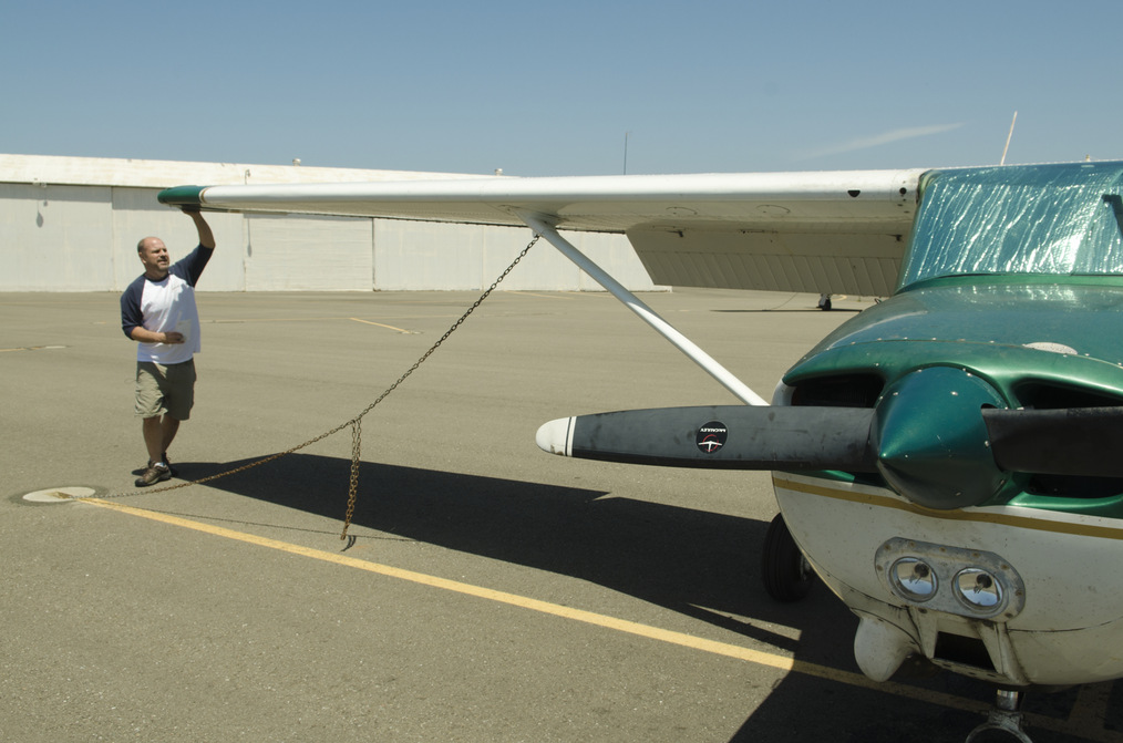 Preparing for a flight in a small engine airplane.
