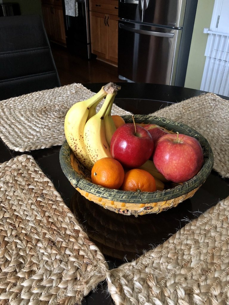 Fruit bowl on kitchen table