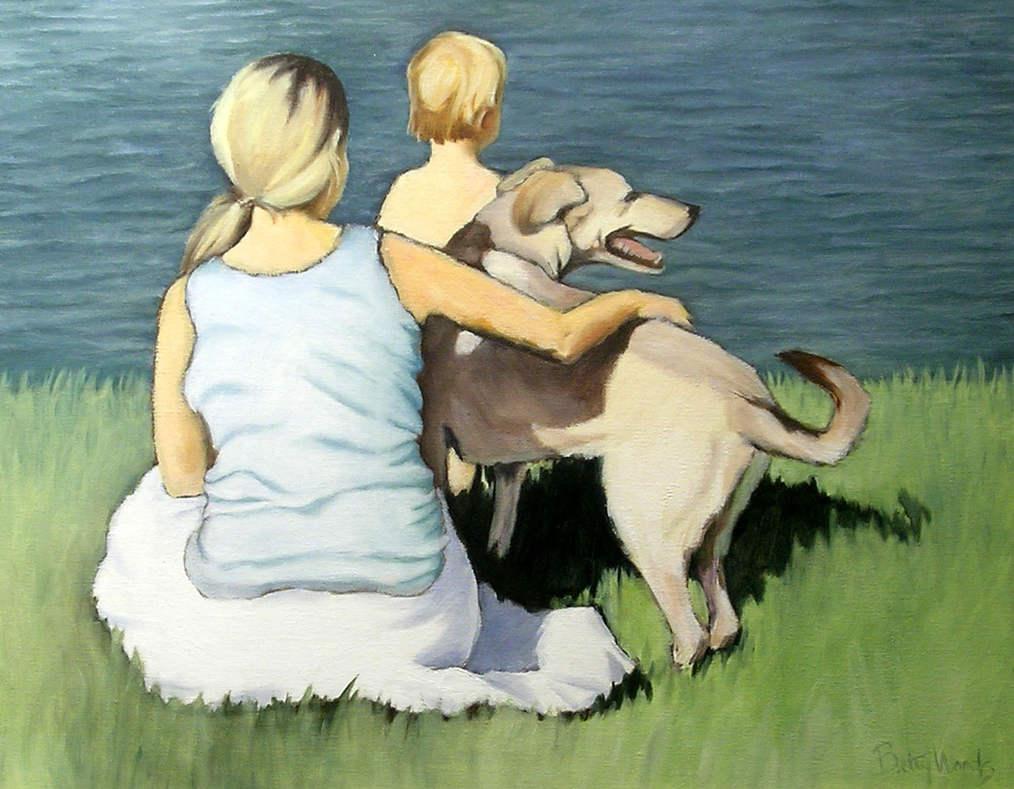 Mother, Child, Dog, Water, Grass