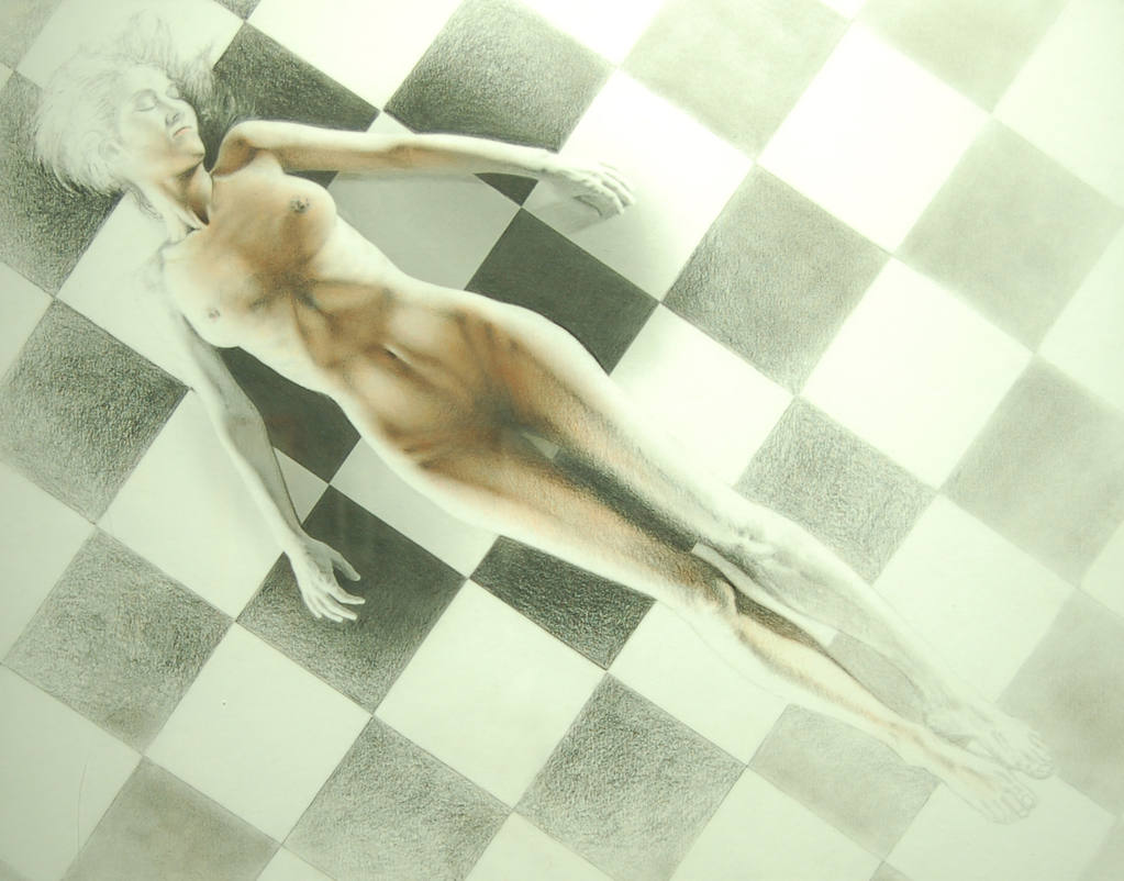 Lying Nude Upon the Checkerboard Tile Floor