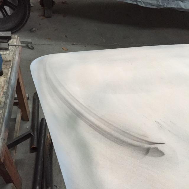 20-Passenger corner of the hood with sanded filler