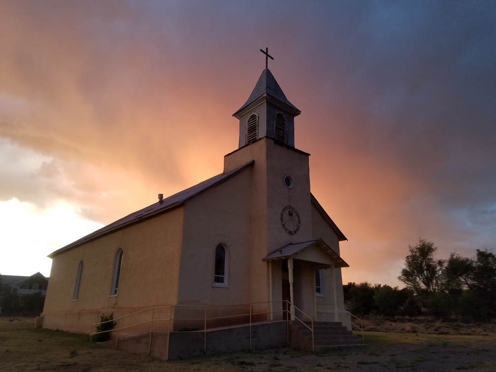 Dilia, New Mexico Church at Sunset