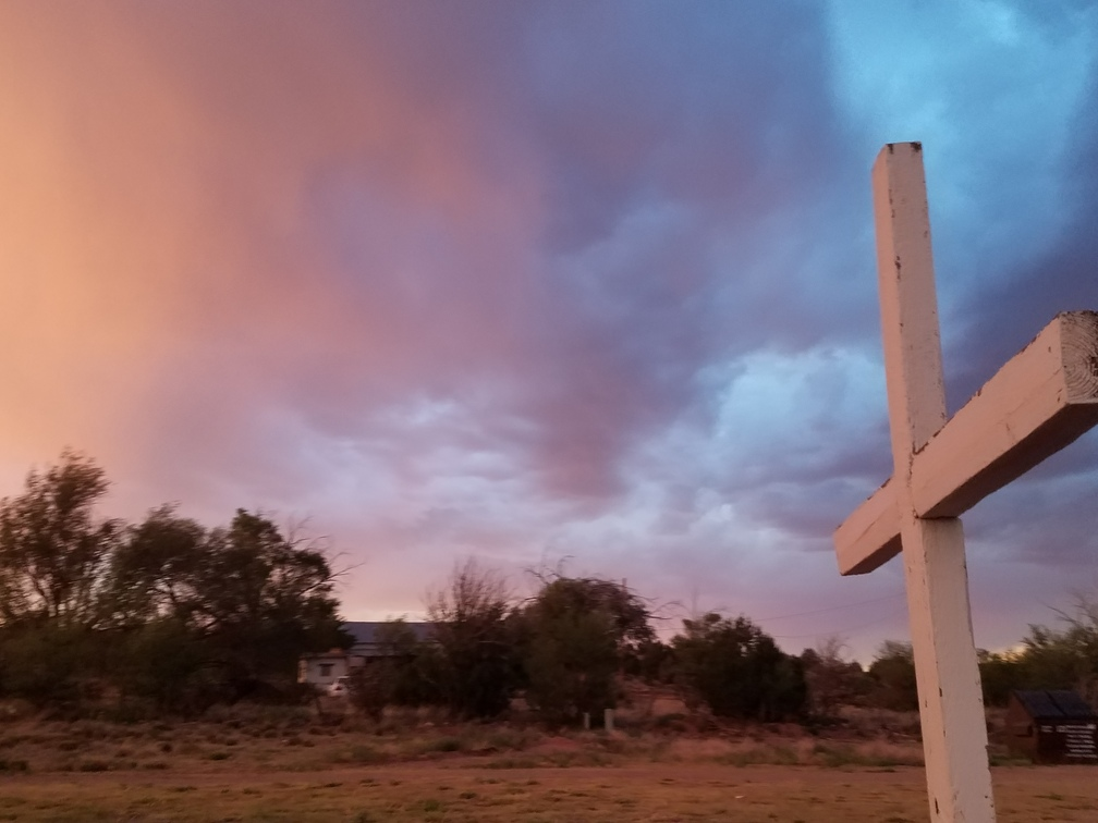 Dilia, New Mexico Cross at Sunset