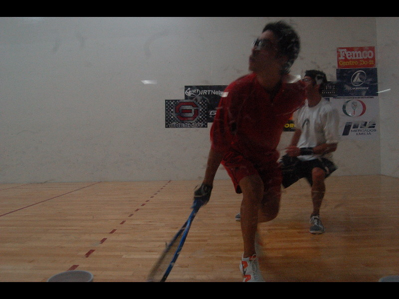 Sideview of a Racquetball game