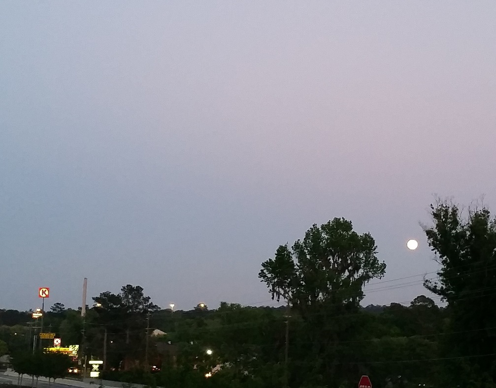 full Pink Moon with circle k and waffle house