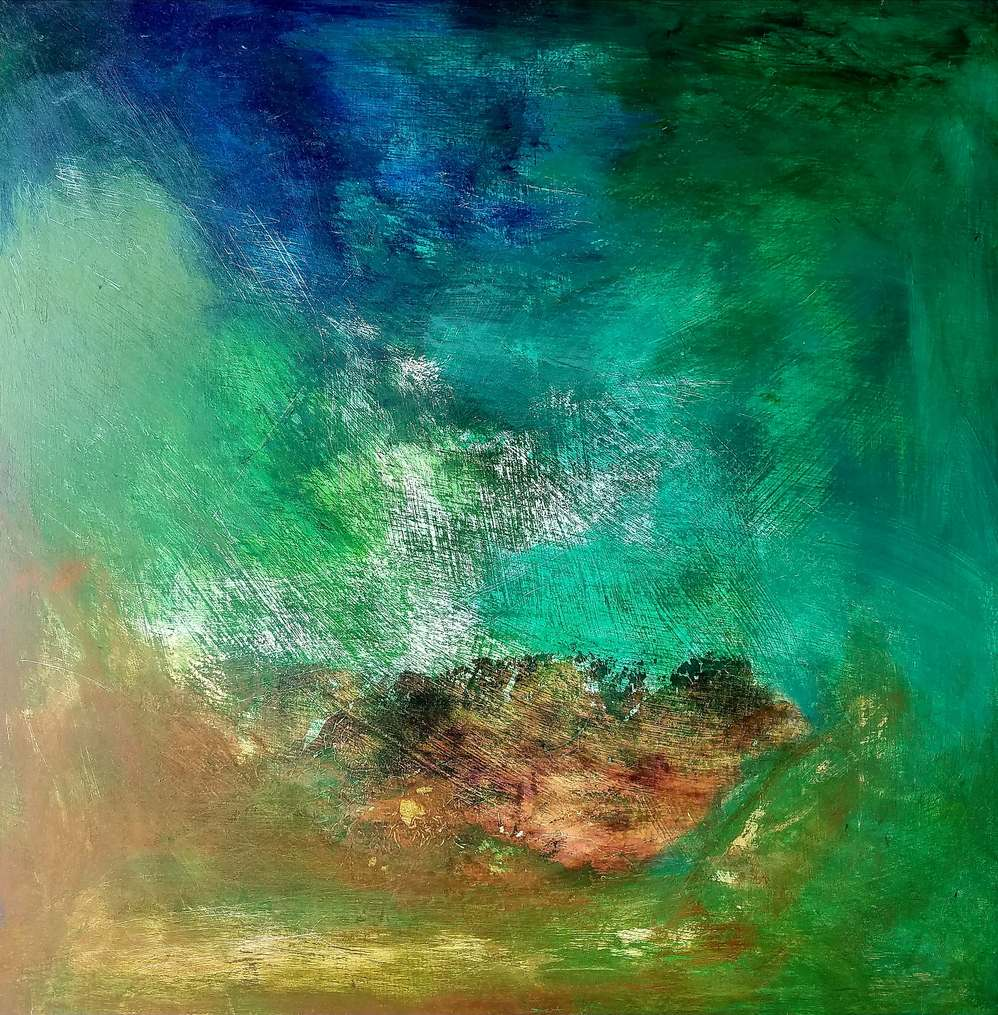 a blue-green abstract color field style painting