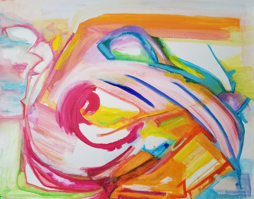 a colorful abstract on paper with elements that look like a wave