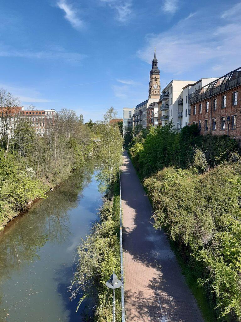 a view of Karl Heine Kanal in Leipzig