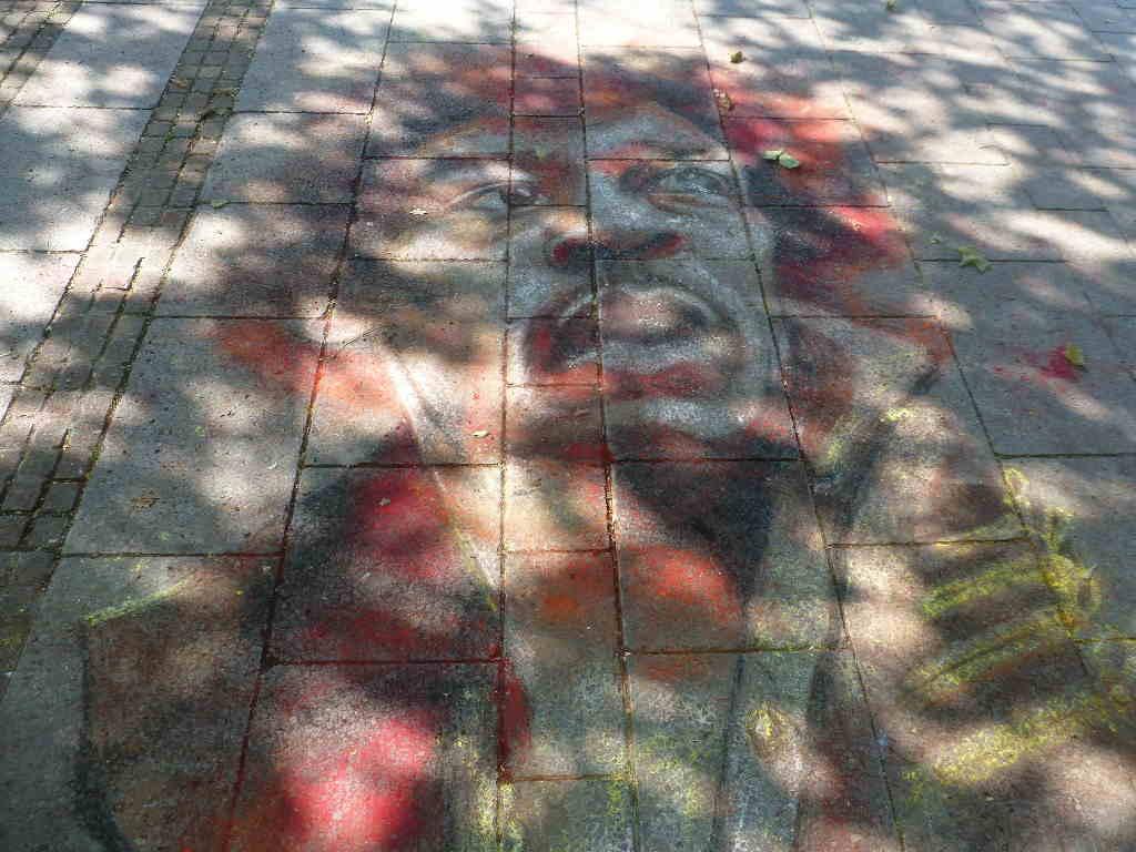Jimi Hendrix - chalk drawing in Baden-Baden