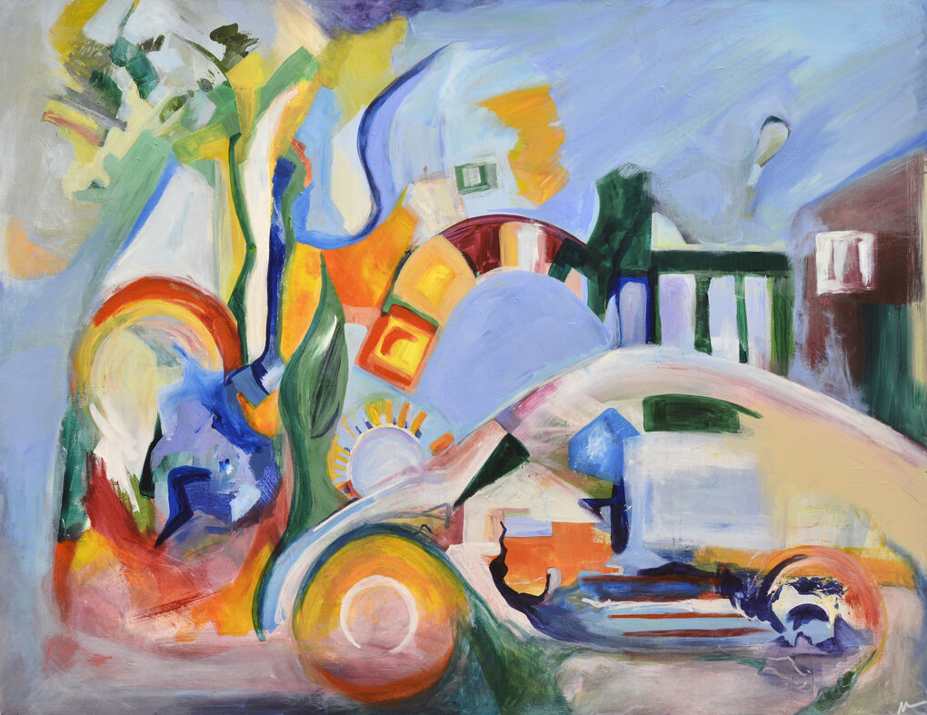 an expressionist painting that includes a shape that loosely look like a Porsche 356