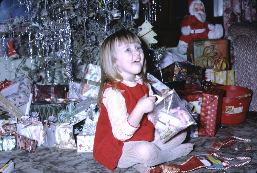 toddler at Christmas time