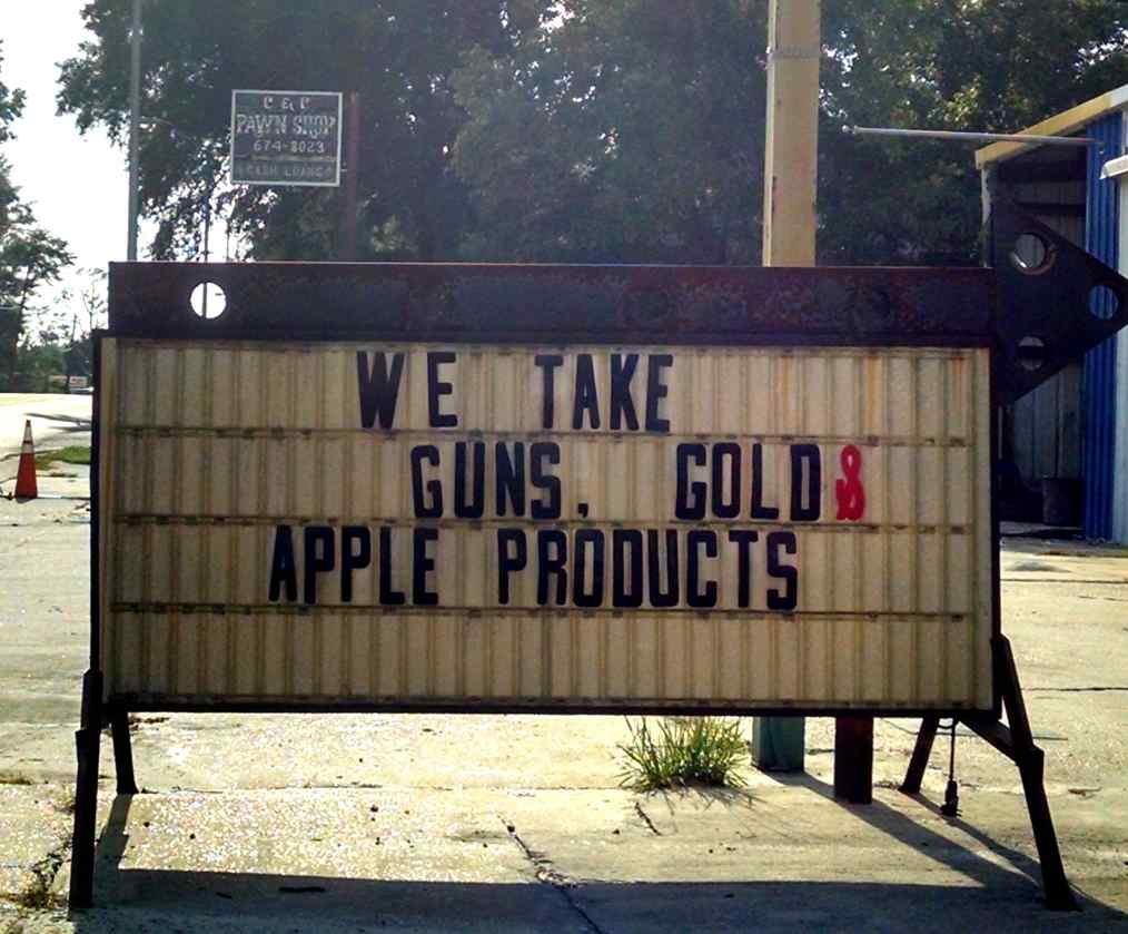 Guns, Gold and Apple Products