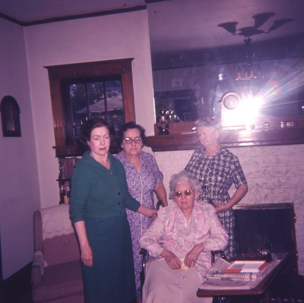 vintage photo from 1963 of 4 women in a living room in Cairo, Illinois