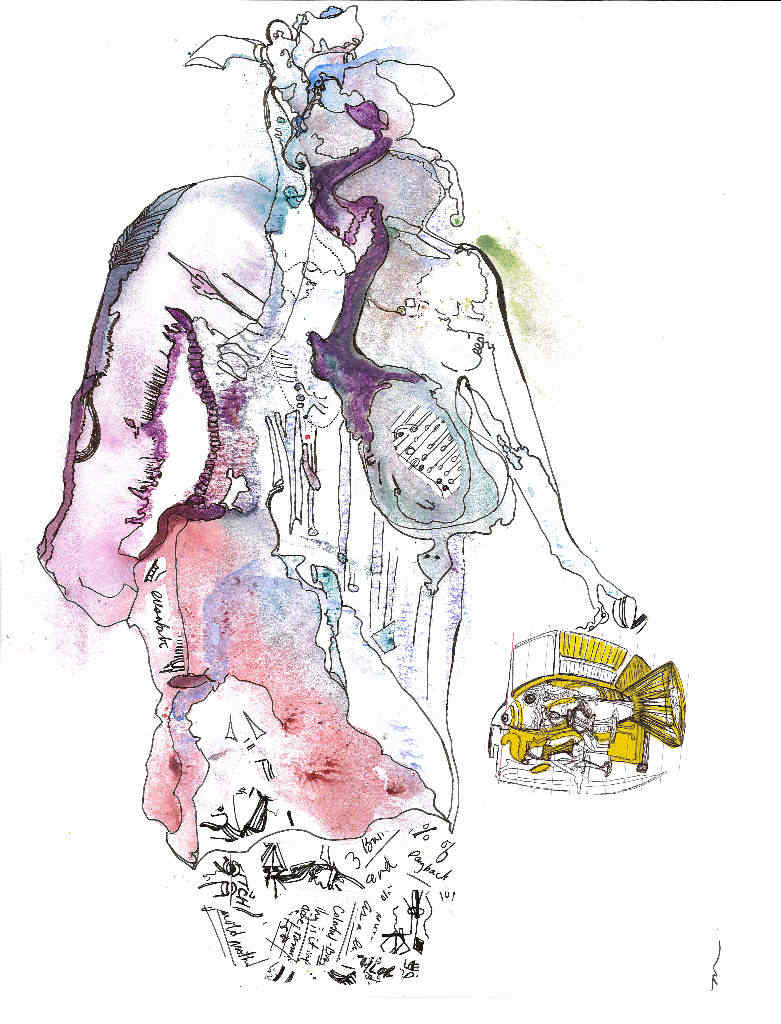 an abstact figure created with watercolor and collage. It looks like a matronly woman carrying a bowl with a fish