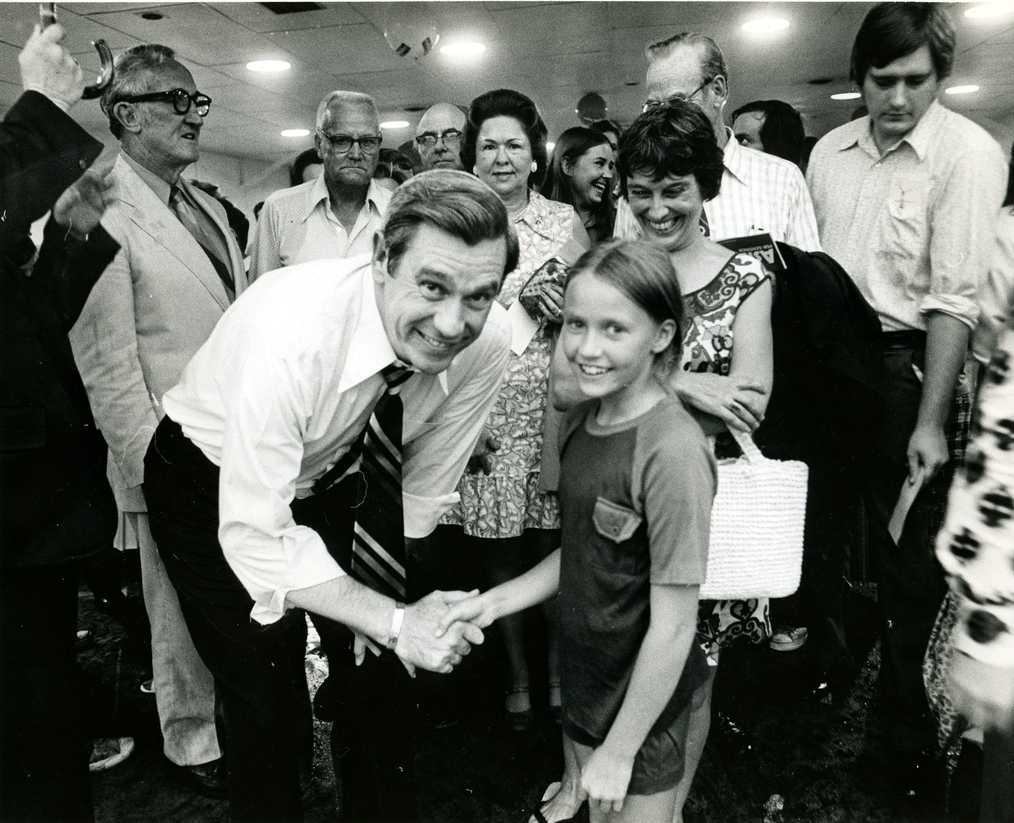Margaret Warren meets Governor Reubin Askew