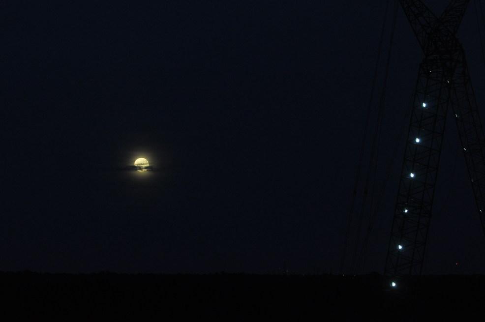 Supermoon over Daytona Beach with Crane