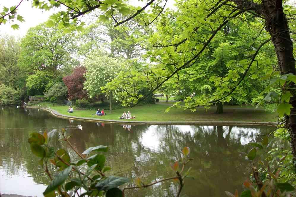 View across water at St Stephen's Green, Dublin, Ireland