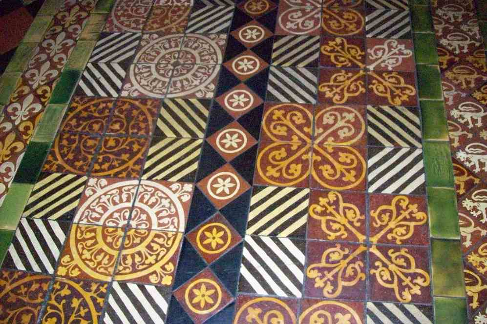 Colorful tiles on floor of Christ Church Cathederal