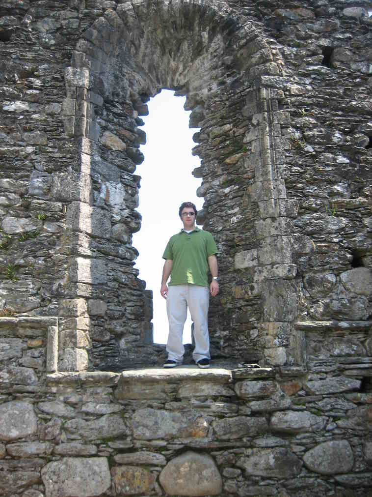 Window in ruined cathedral at Glendalough