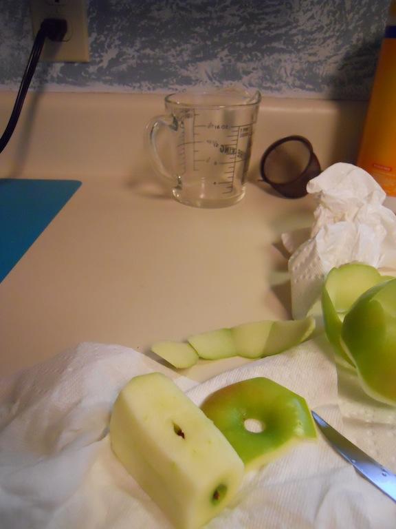 Apple core on countertop