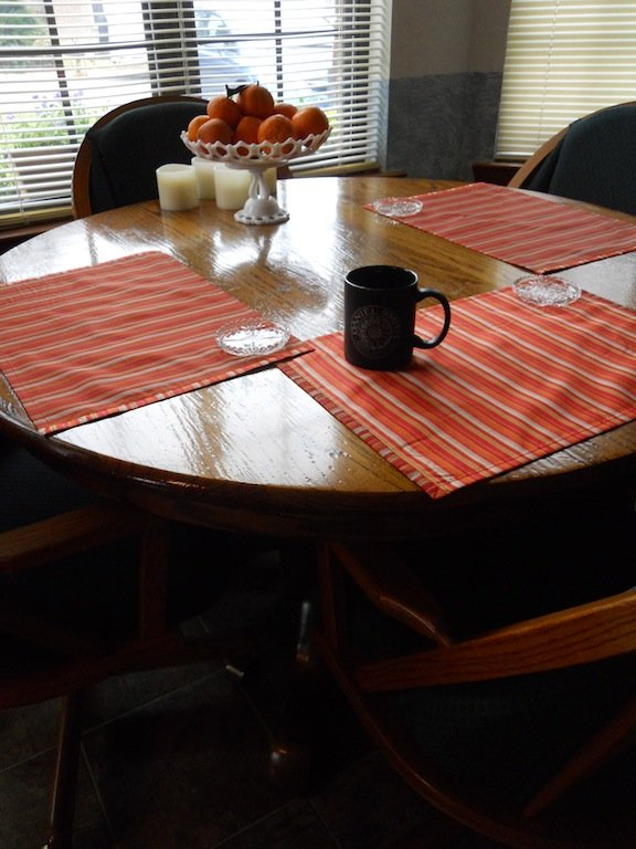 Kitchen table with coffee cup
