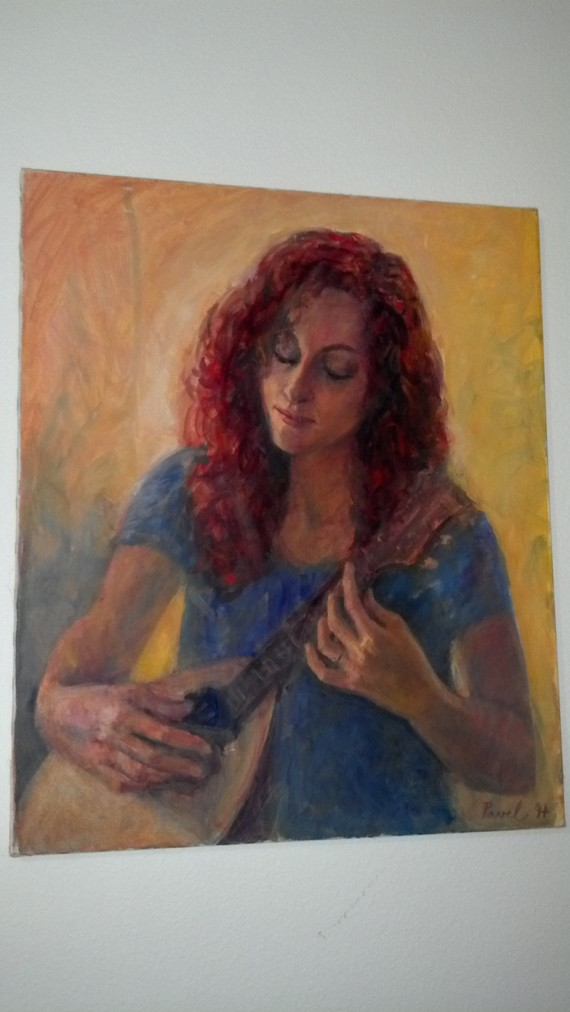 Painting of Michelle Harrell and Mandolin