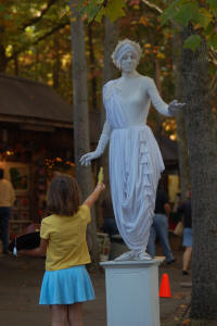 statue and girl