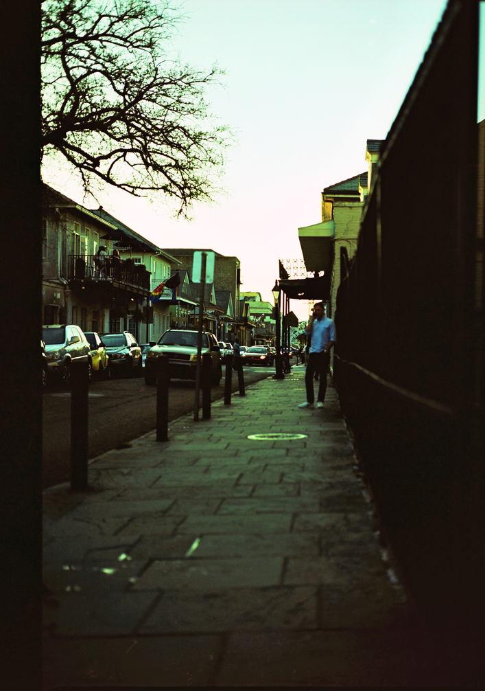 New Orleans sidewalk next to Burbon street.