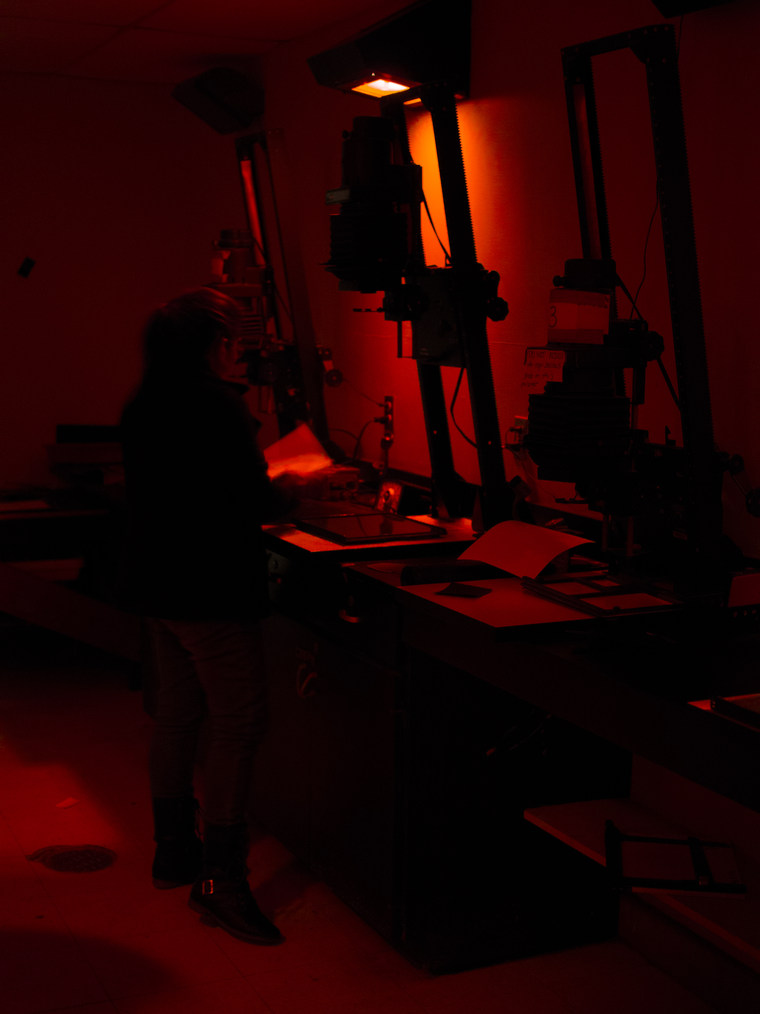 Girl in darkroom