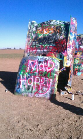 Mad haPPy Graffiti on Cadillac Ranch Car