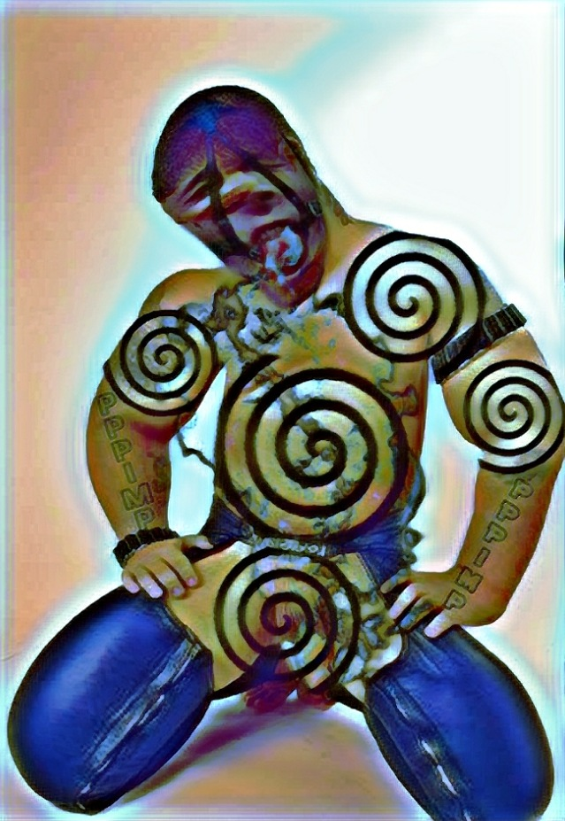 Submissive man kneeling in leather chaps with head hanging down towards muscular cartoonish body tattooed in hypnotic spirals.
