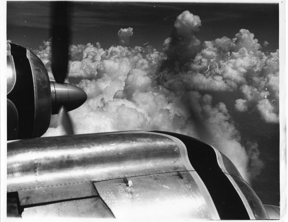 Propeller of Airplane in Clouds