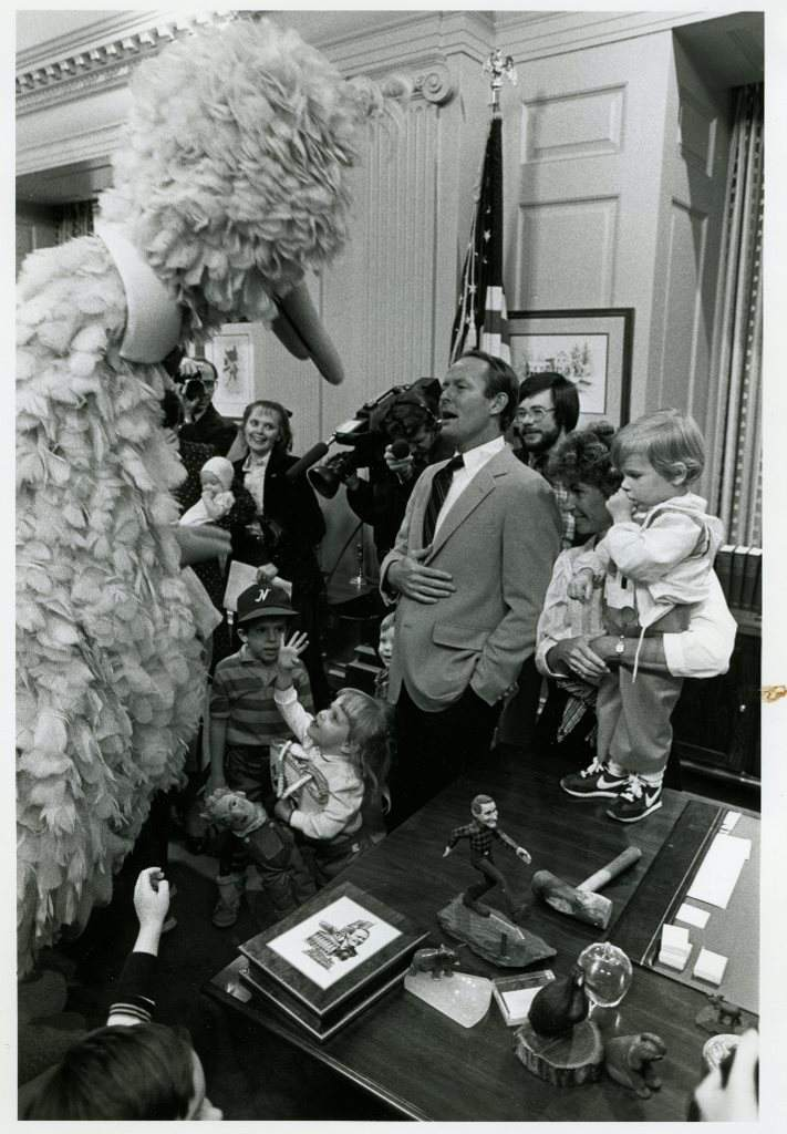 Big Bird with former TN governor Lamar Alexander, 1982