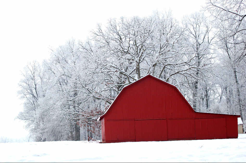 Snow and red barn