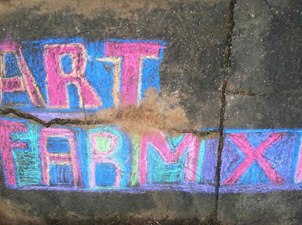 Pathway chalk at art farm