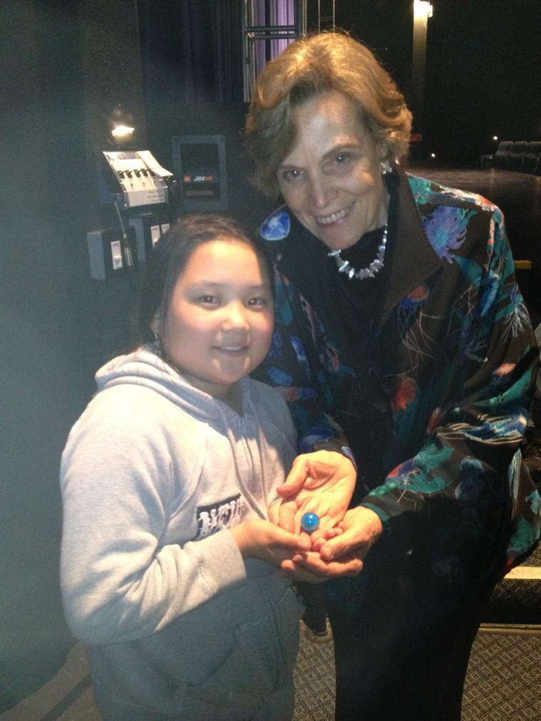 Ocean explorer Emi has a one blue marble thank you for ocean explorer Sylvia Earle.