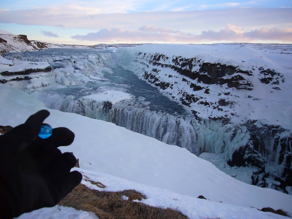 Blue Marble at the Gullfoss Waterfall