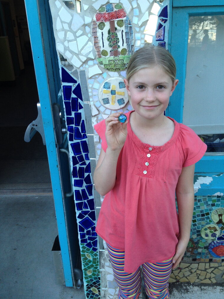 Author/illustrator Ella has a one blue marble thank you for author/illustrator Faith Ringgold.