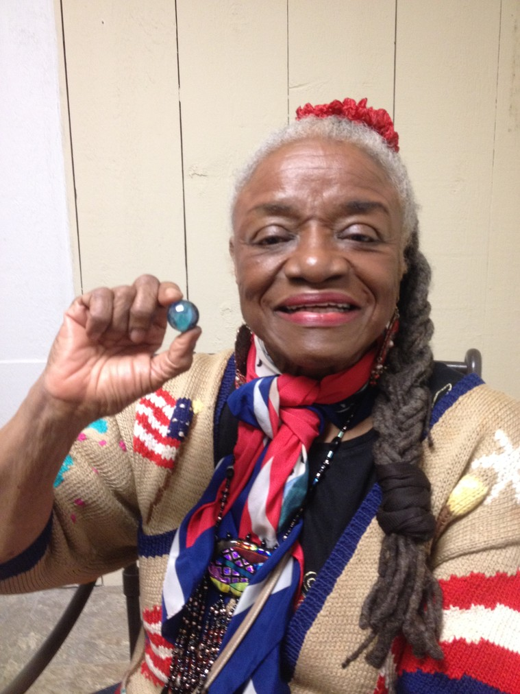 Artist/author/performer Faith Ringgold receives one Blue Marble.
