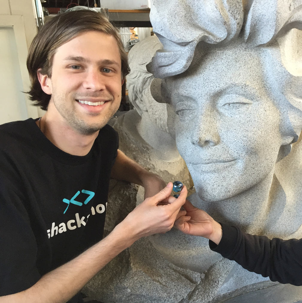 Bryan G with the Sculpture of Sylvia Earle
