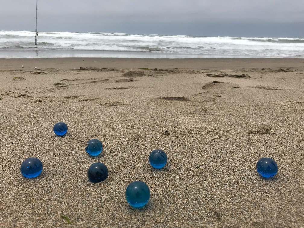 Blue Marbles on Ocean Beach