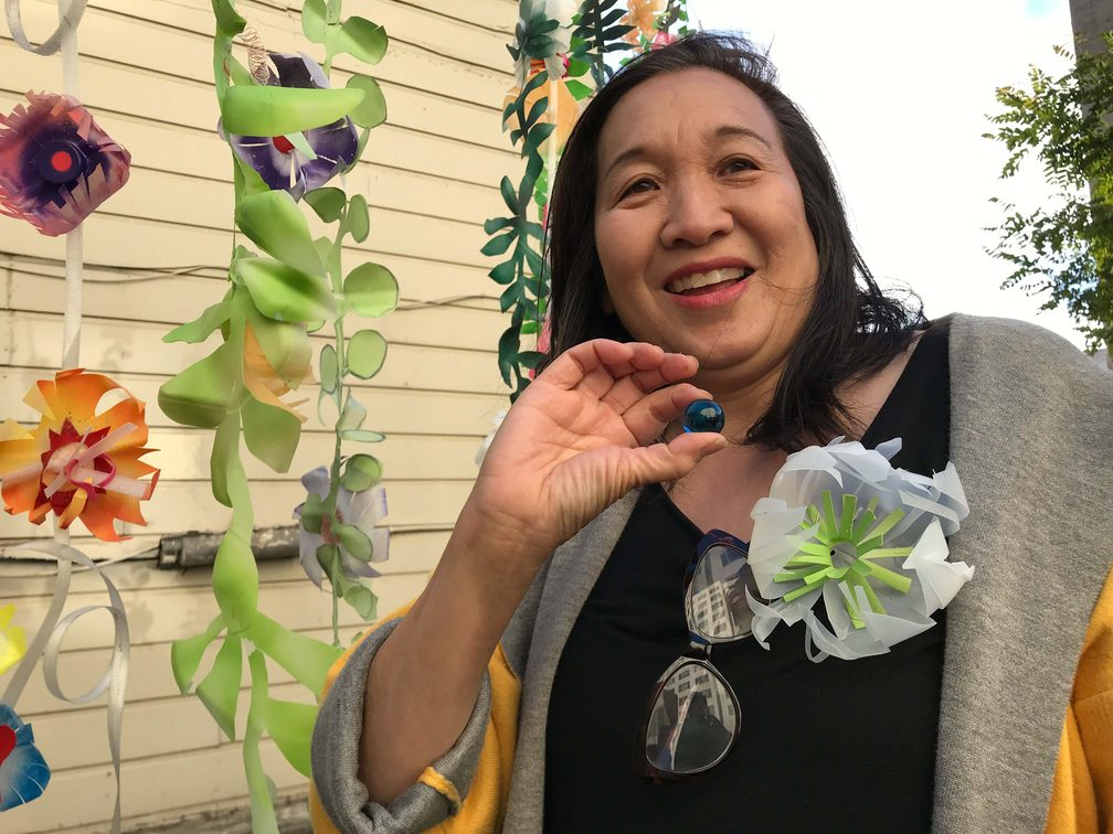 The artful crafter Monica Lee receives one blue marble at Ruth