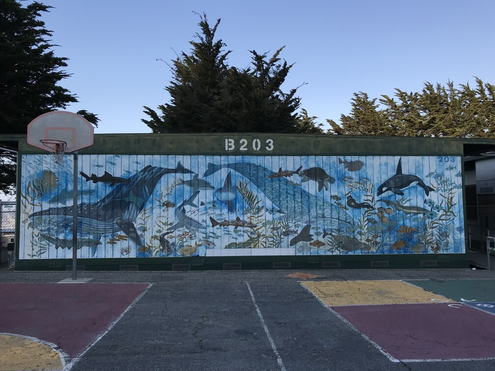 The Ocean Mural, depicting the diverse sea life of the Channel Islands, was painted on the side of Bungalow B203.