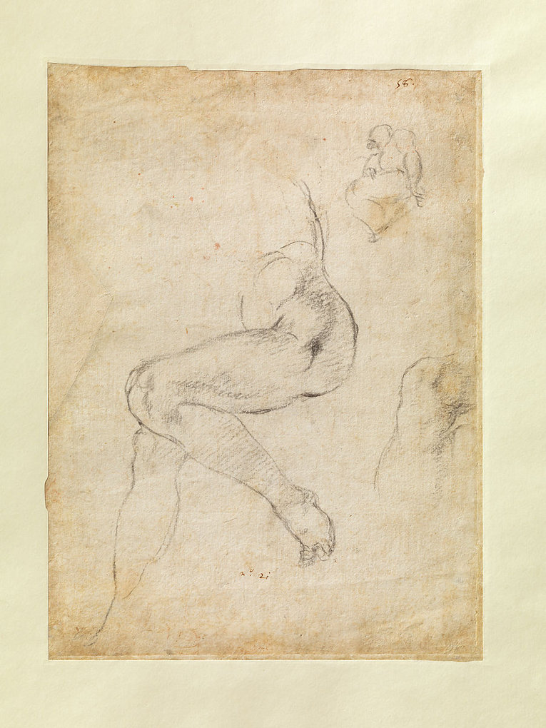 Studies for the Libyan Sibyl and a small Sketch for a Seated Figure (verso)