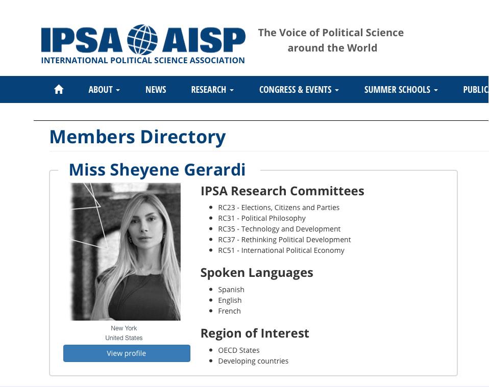 Sheyene Gerardi International Political Science Association (IPSA)