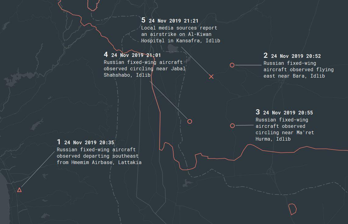 Map of Estimated Timeline Of Kiwan Airstrike November 24, 2019
